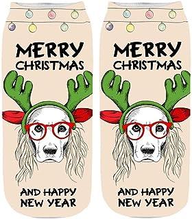 VJGOAL, Moda casual Cómoda Navidad 3d tejido liso Estampado fino Algodón Calcetín Zapatillas Short Tobillo Calcetines