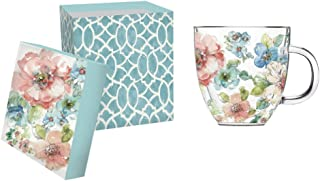 """Cypress Home Summer Bloom 12 oz Artisan Double-Wall Glass Coffee or Tea Café Cup in Coordinating Gift Box - 4.75""""W x 4"""