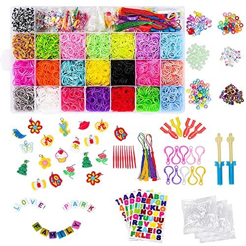 CGBOOM Loom Bänder Set Kinder, 6800 Stück DIY Gummibänder Loom Gummis Bands Loombänder für Armbänder, Halskette Mit Vielen Schönen Accessoires, Aufbewahrungsbox Strickwerkzeug