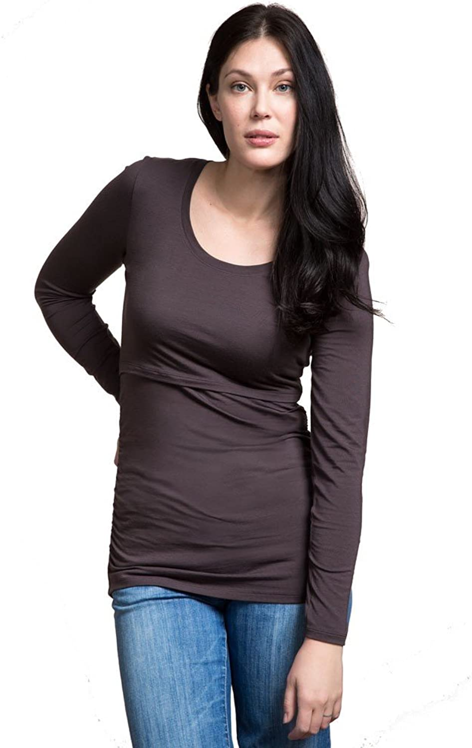 Boob Design Flatter Me Ruched Long Sleeve Maternity & Nursing Top  L  Pip (Cocoa Brown)