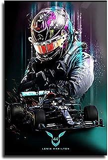 LizaCheng Lewis Hamilton Affiche Hd F1 Championnat Du Monde Poster Racer Painting Décoratif Toile Art Mural Salon Posters ...