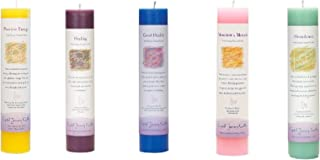 Crystal Journey Reiki Charged Herbal Magic Pillar Candle with Inspirational Labels - Set of 5 (Positive Energy, Healing, Good Health, Manifest a Miracle, Abundance) Each 7