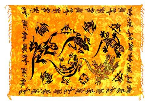 Ciffre Sarong Pareo Wickelrock Strandtuch Tuch Wickeltuch Handtuch Gratis Schnalle Schließe Gecko Orange Schwarz
