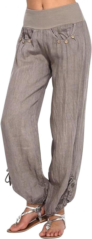 WUAI-Women Comfy Bohemian Yoga Pants Casual Loose Elastic Waist Plus Size Cotton Linen Wide Leg Palazzo Lounge Pants