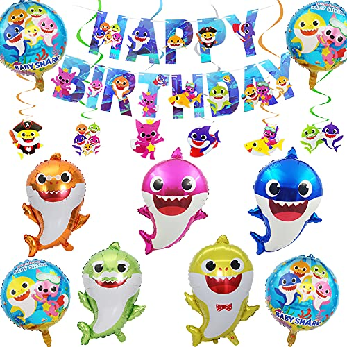 Globos de Tiburón Bebé Hilloly Baby Cute Shark Balloons, Shark Family Balloons, Tiburón Joven Globo de Cumpleaños, Serpentinas Colgantes con Diseño de Tiburón en Espiral