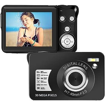 Digital Camera 2.7 Inch 30 Mega Pixels HD Camera Rechargeable Mini Camera Students Camera Pocket Camera Digital Camera with 8X Zoom Compact Camera for Beginner Photography