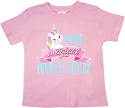 Inktastic Most Magical Middle Sister- Cute Unicorn Toddler T-Shirt