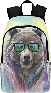InterestPrint Animal Hipster Bear Casual Backpack School Bag Travel Daypack