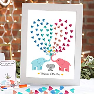 AerWo Elephant Baby Shower Guest Book, Cute Babyshower Guest Sign in Book Signing Canvas Keepsakes for Baby Shower Decorations (Without Frame)