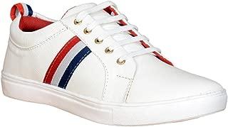 RAFTAAR Men's Boy's Casual Sneakers Whtie Color Shoes (Sneakers-White-RED_P)