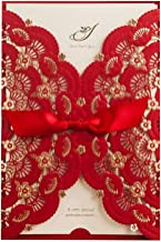 Wishmade 50X Elegant Red Laser Cut Wedding Invitations Cards with Lace Flower Ribbon Hollow Pattern Cardstock for Baby Shower Bridal Shower Engagement Birthday Fancy Party Invites Favors CW5113