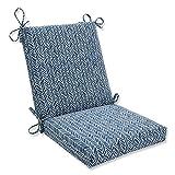 Pillow Perfect 609782 Outdoor/Indoor Herringbone Ink Square Corner Chair Cushion, 36.5' x 18', Blue