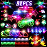 JAT RRBD 82PCs LED Light Up Toys Party Favors,Easter present Glow in the Dark Party Supplies for Boys,Girls Kids/Adults,with 5 Glasses,40 Finger Lights,12 Bamboo Dragonflies,5 Bracelets,5 Whale Finger Lights,5 Wrist Strap,5 Spinning Tops and 5 Hairpin
