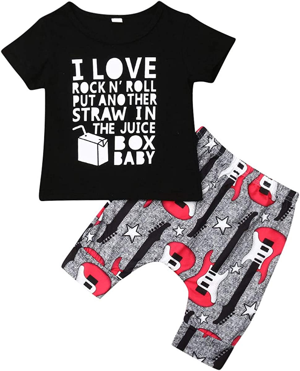 Baby Boy Clothes I Love Rock N' Roll Letter Print Short Sleeve Shirt Top+Guitar Pants 2PC Summer Outfit Set