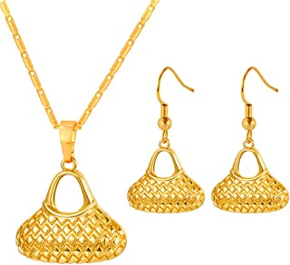 Women Papua New Guinea Bilum Jewelry Set PNG Ethnic Style 18K Gold Plated Individuality Bag Charm Necklace Earrings