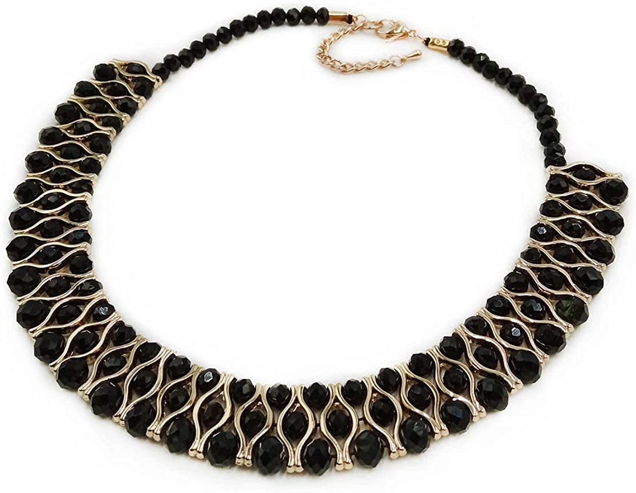 PLYOU Crystal Statement Necklace Collar Choker with Extension Chain Jewelry Gifts in Black