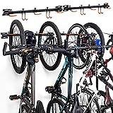 ikkle - Supporto per biciclette, Rastrelliera Portabiciclette, Supporto da Parete per 6 Biciclette, Porta Bici a Parete da Esterni e Interni, Gancio per Garage Arancione 【Durevole e Antiscivolo】
