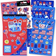 USA Patriotic Stickers for Kids Patriotic Crafts America USA Party Favors with 3D USA Flag Sticker