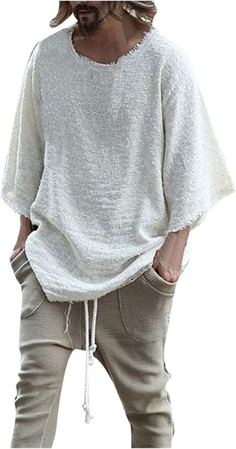 Huangse Mens Summer Solid Color Baggy Cotton Linen Henley Shirts Casual Loose Beach Yoga Tops Blouse Plus Size S-3XL