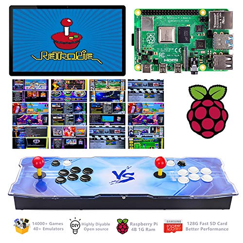 TAPDRA 14000+ Retro Games Arcade Console 2 Players for Raspberry Pi 4 Model B(1G Ram Edition) ES Retropie with 40+ Emulators