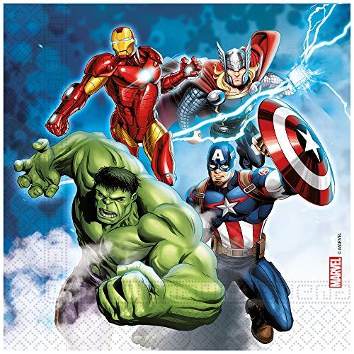 Procos- Tovaglioli Carta FSC compostabili Marvel Avengers Fight (33x33cm, Triplo Velo), 20 Pezzi, Multicolore, Taglia Unica, 10201204