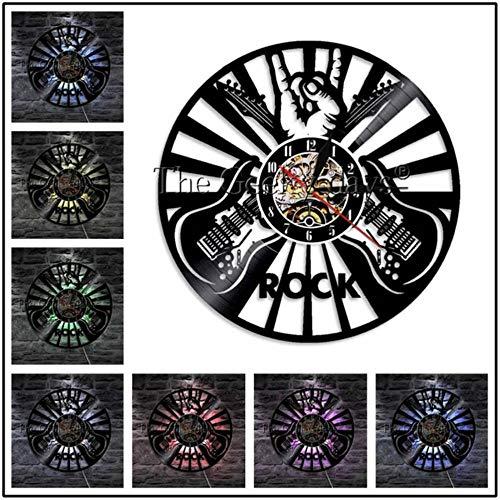 MNHI Musikinstrument Schallplatte Wanduhr Modernes Design Gitarren- und Schlagzeug-Kits Rockmusik LED-Uhr Wanduhr Home Decor, C-7 LED-Farbe