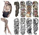 Tatuajes temporales de moda - 8 hojas de tatuajes grandes para el cuerpo. Para hombres y mujeres, resistente al agua y eliminable. No tóxicos y seguros para todas las pieles