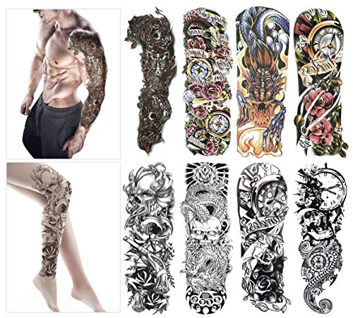 Fashion Temporary Tattoo Transfer Stickers - 8 Sheets Large Size Tattoo Body Stickers for Man & Women Waterproof Removeable Non-Toxics & Safe for All Skin (Set.1)