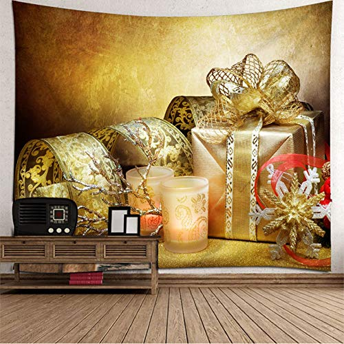 Daesar Christmas Wall Tapestry, 3D Wall Tapestry Snowflake Gift and Candle 3D Tapestry Durable Polyester Gold Pattern Tapestry 118 x 102 Inch