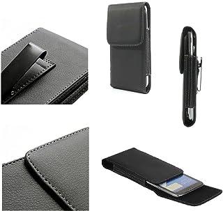 DFV mobile - جراب جلدي بمشبك حزام معدني رأسي لهاتف سوني إكسبيريا S LT26 / LT26i / Arc HD - أسود
