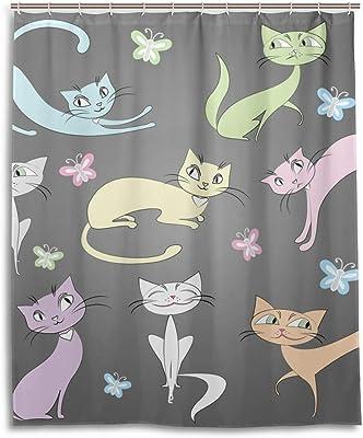 シャワーカーテン 防水 防カビ 加工 浴室 カーテン 風呂カーテン 猫 グレー おしゃれ かわいい 防水 間仕切り 遮像 目隠し用 リング付属 取り付け簡単 150×180cm 北欧 Mskyoo