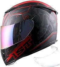1Storm Motorcycle Full Face Helmet Skull King Matt Red+ One Extra Clear Shield, Size Medium (55-56 cm,21.7/22.0 Inch)