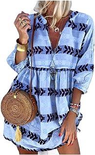 neveraway Women's 3/4 Sleeve Fashion Print Plus Size Regular Casual Dress