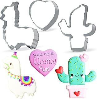 Conleke Large Llama Cactus Heart Shaped Cookie Cutter Set,(3 Pieces) Stainless Steel Cutters Molds Cutters for Making Muffins, Biscuits,Sandwiches,Cake,Fondant,Pancake