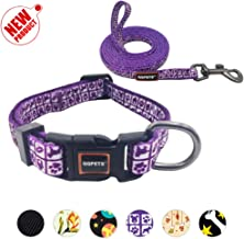 QQPETS Soft and Easy to Wear Heavy Duty Dog Collar and Leash Set for Handles Training Walking Small Medium Large Puppy Breed Girl Boy Unique Pattern Collar