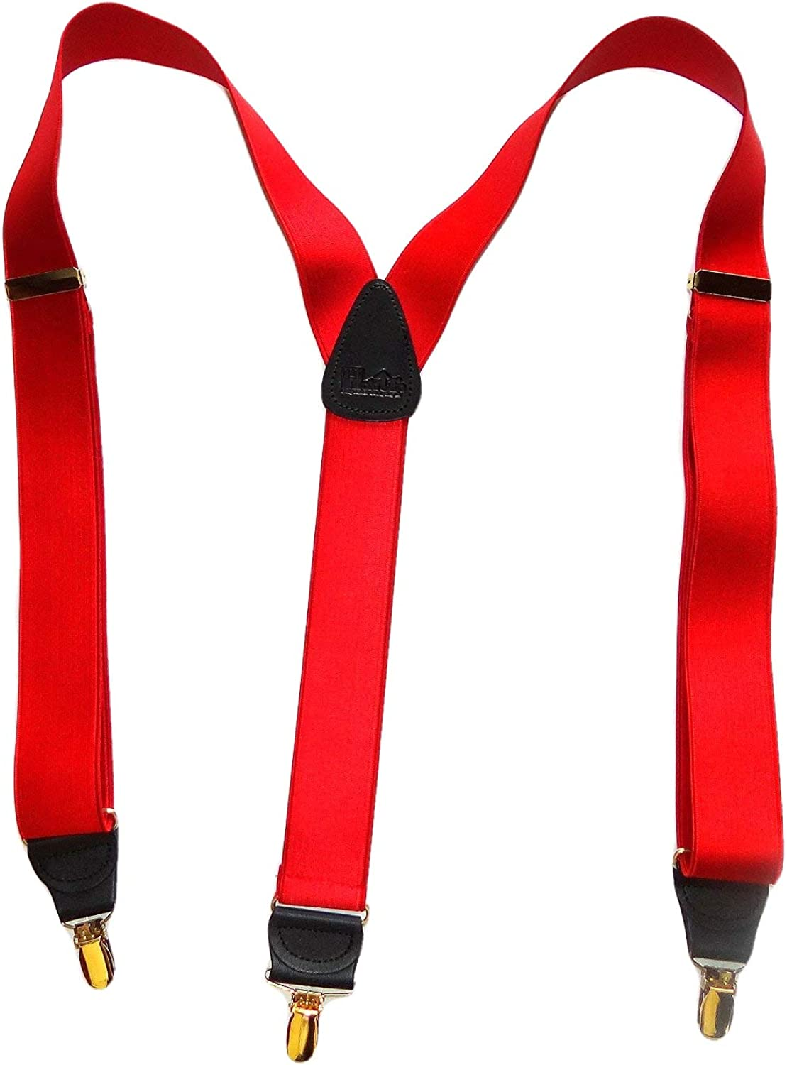 Holdup brand Regal Red Satin Finish Y-back Suspenders with Patented Gold-tone No-slip Clips