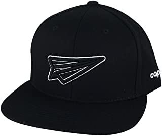 Fly High Paper Plane Snapback Hat Cap - Black Black White