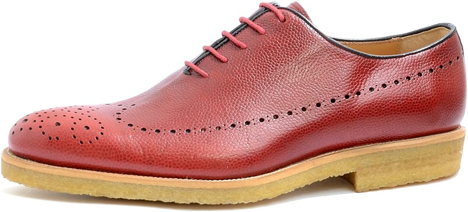 VITELO Men's Crepe Sole Brogue Leather Lace-up shoes in Red and Tan TS 260