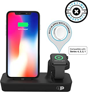 ONE Dock Duo (Apple Certified) Power Station Dock, Stand & Charger with Built-in Original Charger for Apple Watch Smart Watch (Series 1,2,3, Nike+), iPhone X/10/8/8 Plus/7/7Plus/6s/6s, iPad and iPod