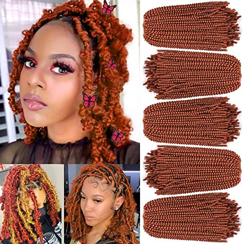 Xtrend 12 Inch 5 Packs Spring Twist Crochet Braids Hair For Butterfly Faux Locks Copper Red Crochet Hair For Black Women Synthetic Fluffy Hair Extension (350#)