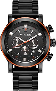 OCHSTIN Fashion Stainless Steel Men Watch Water-Proof Chronograph Casual Wristwatch Sports Style Man Casual Watch + Box