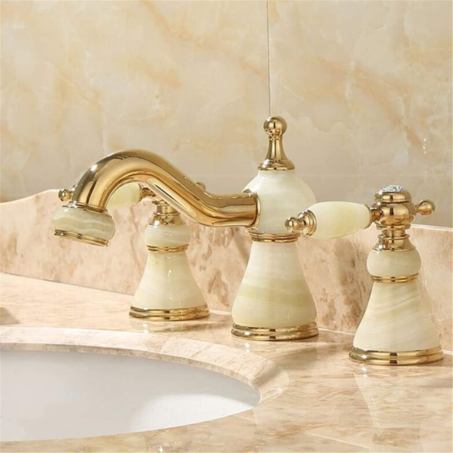 Faucet Washbasin Mixergold Jade Double Handle Three Hole Sink Basin Faucet Cold Hot Water Mixer Taps Bathroom Basin