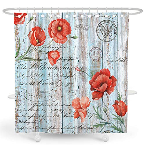 DESIHOM Poppy Floral Shower Curtain Rustic Wooden Shower Curtain Quotes Farmhouse Shower Curtain Primitive Country Barn Shower Curtain with Words Polyester Waterproof Shower Curtain 72x72 Inch