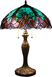 Tiffany Style Lamps Stained Glass Table Lamp 24 Inch Tall Green Liaison Shade 2 Light Antique Base for Living Room Bedroom Coffee Table Reading Desk Beside Set S160G WERFACTORY