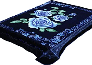 Solaron 4ESTACIONES Mink Plush Korean Style Durable Blanket from Company (Blue Flowers, King)