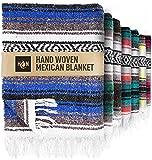 Handcrafted Large Mexican Blankets, Artisanal Handwoven Serape Blanket, Authentic Falsa Blanket, Beach Blanket, Camping Blanket, Picnic Blanket, Outdoor Blanket, Boho Throw Blankets, King Blue