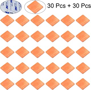 CJRSLRB 30Pcs Heatsink Copper Pad Shims 20x20x0.5mm + 30Pcs Thermal Conductive Adhesive Stickers for IC Chipset GPU CPU Cooling
