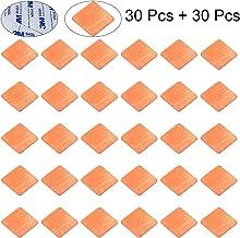 CJRSLRB 30Pcs IC Chipset GPU CPU Thermal Heatsink Copper Pad Shims 20x20mm + 30Pcs Applied Thermal Conductive Adhesive Stickers