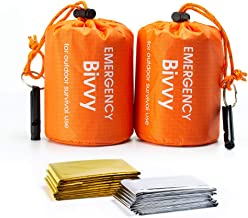 Emergency Survival Blanket WEKON 2pcs Survival Sleeping Bag Visible Portable Weather Resistant 2pcs CPR Mask Key Chain Portable Rescue Emergency Kit with Breathing Barrier