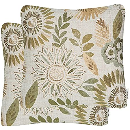 Amazon Com Yukore Pack Of 2 Simpledecor Throw Pillow Covers Decorative Pillow Cases 20x20 Inches Jacquard Floral Pattern Teal Brown Cream Home Kitchen